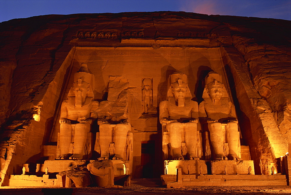 Colossi of Ramses II, floodlit, Great Temple of Ramses II, Abu Simbel, UNESCO World Heritage Site, Egypt, North Africa, Africa