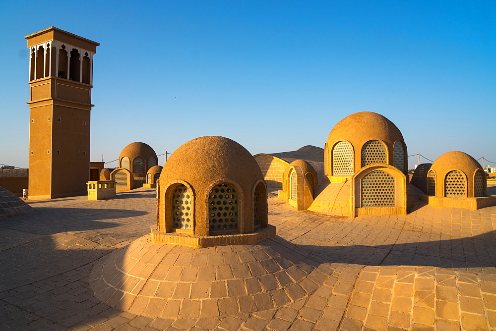 Roof (including windtower for air cooling) of late 18th century Qajar mansion, now Serai Ameriha Hotel, Kashan, Iran