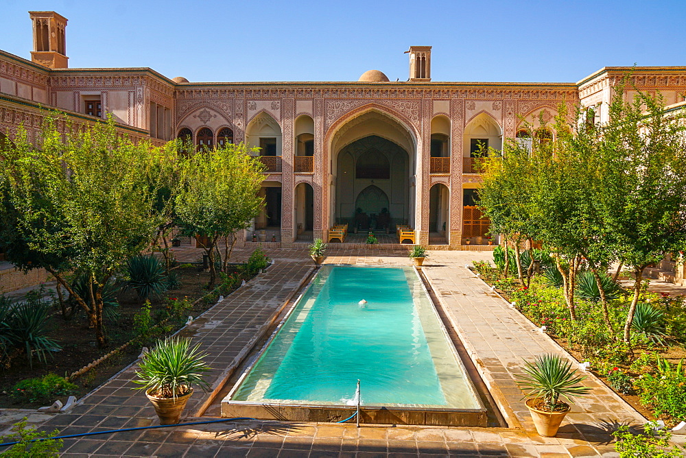 Courtyard of late 18th century Qajar Mansion, now Serai Ameriha Hotel, Kashan, Iran, Middle East