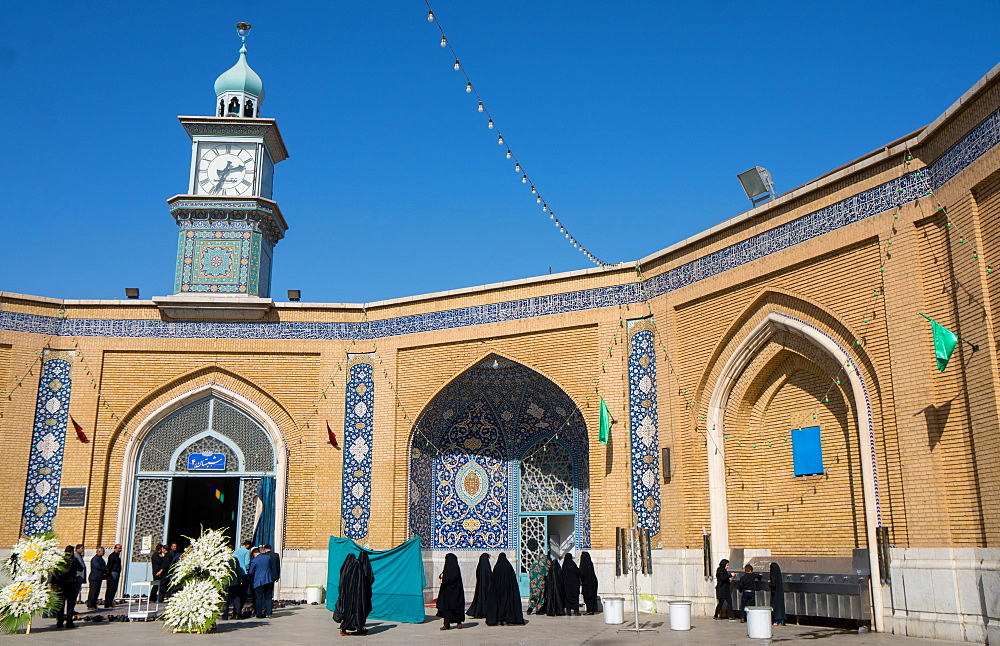 Separate male and female entrances for memorial service at Hazrat-e Masumeh (Holy Shrine), Qom, Iran, Middle East
