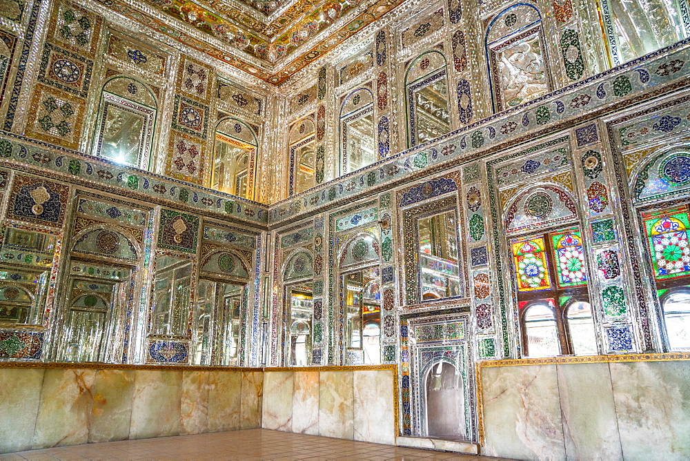 Mirrored reception hall, Khan-e Zinat al-Molk, Qavam al-Molk family's private quarters, Shiraz, Iran, Middle East