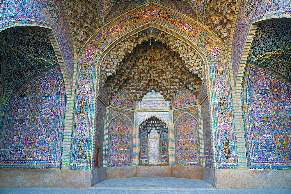 Late 19th century tiling at Nasir-al Molk Mosque, Shiraz, Iran, Middle East