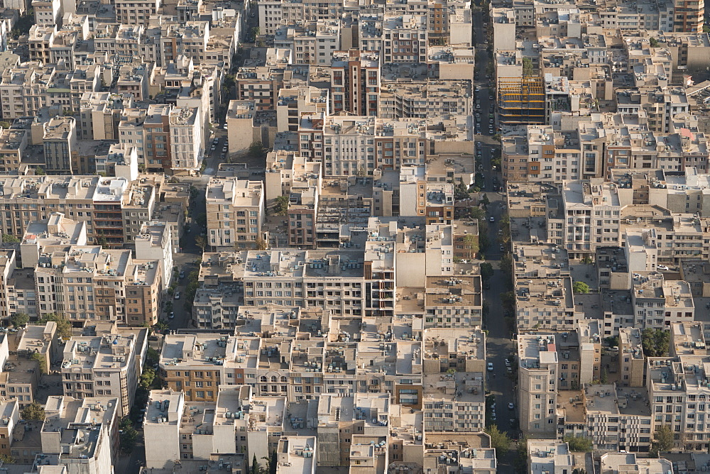 Aerial view of apartment and office buildings, Central Tehran, Iran, Middle East