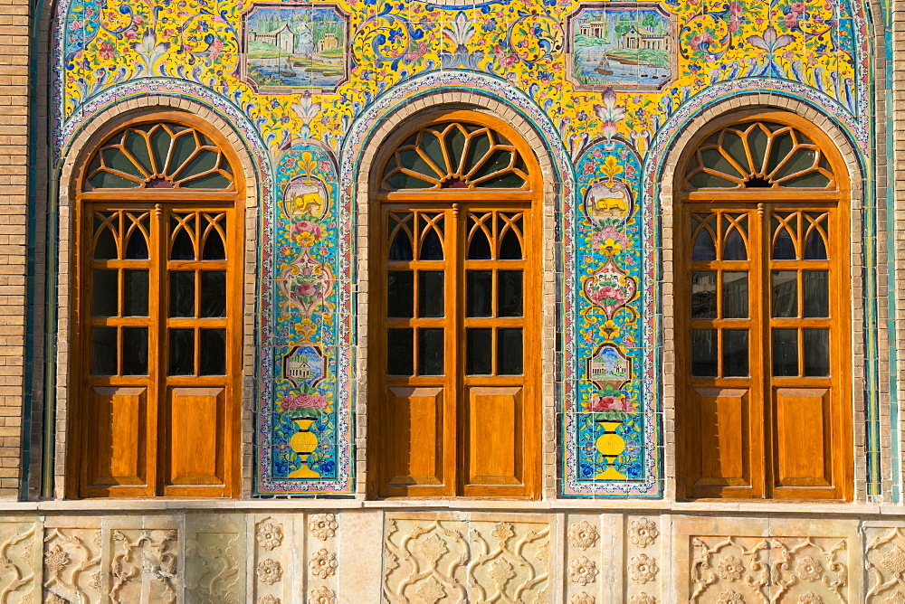 Ceramic tilework, Golestan Palace, UNESCO World Heritage Site, Tehran, Iran, Middle East