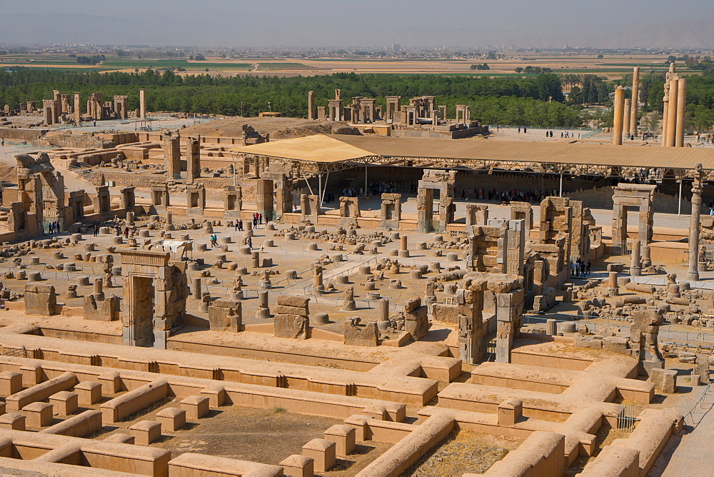 Overview of Persepolis from Tomb of Artaxerxes III, Palace of 100 Columns in foreground, UNESCO World Heritage Site, Iran, Middle East