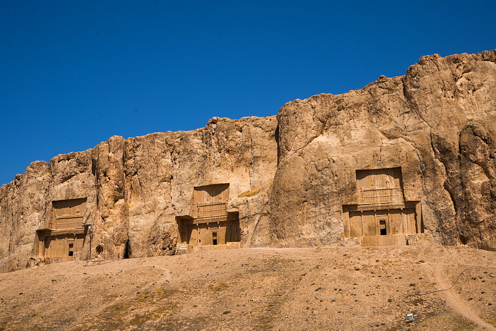 Tombs of Darius II, Ataxerxes I and Darius the Great, Naqsh-e Rostam Necropolis, near Persepolis, Iran, Middle East