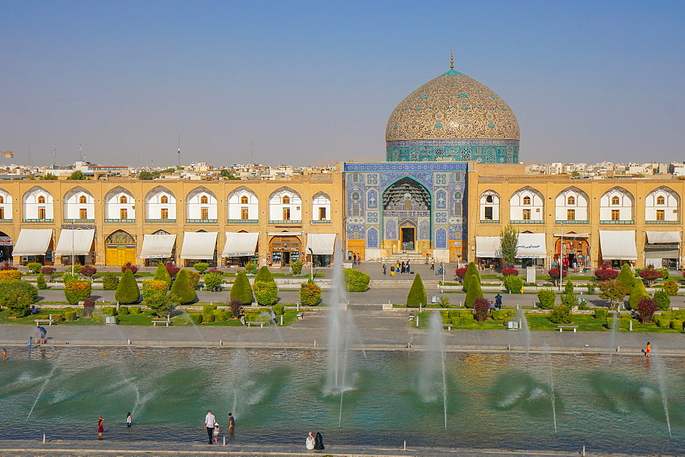View across Naqsh-e (Imam) Square, UNESCO World Heritage Site, from Ali Qapu Palace opposite Sheikh Lotfollah Mosque, Isfahan, Iran, Middle East
