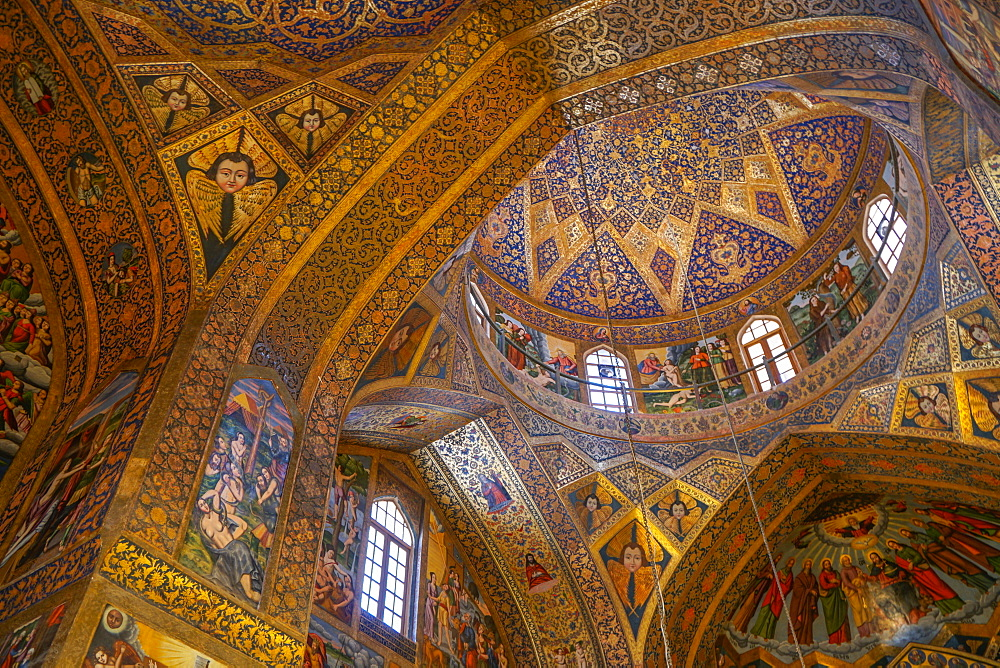 Interior of dome of Vank (Armenian) Cathedral, Isfahan, Iran, Middle East