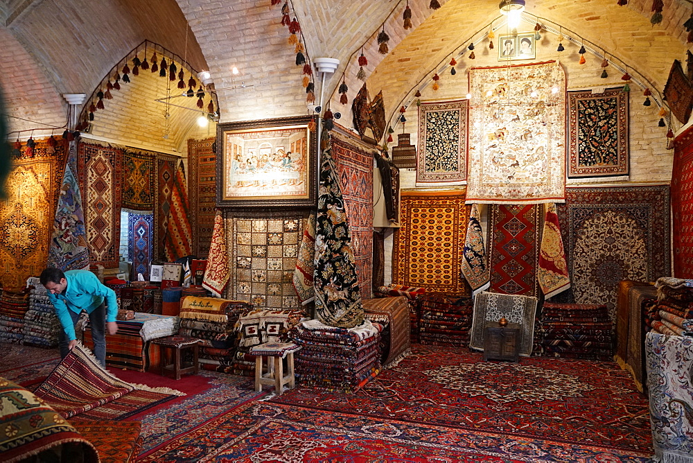 Carpet shop, Grand Bazaar, Isfahan, Iran, Middle East