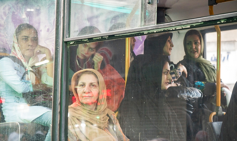 Women in the Ladies' Section at the back of a bus, Tehran, Iran, Middle East