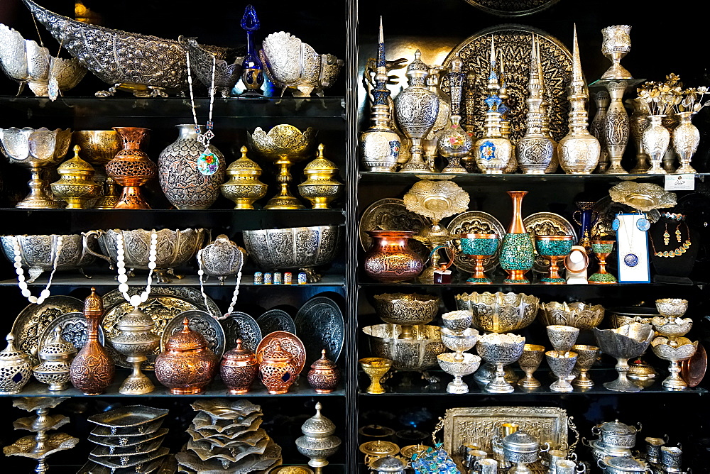 Metalwork for sale, Grand Bazaar, Isfahan, Iran