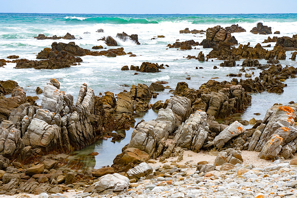 Rocks and bay at the southernmost tip of Africa, Cape Agulhas, Western Cape, South Africa, Africa - 450-4169
