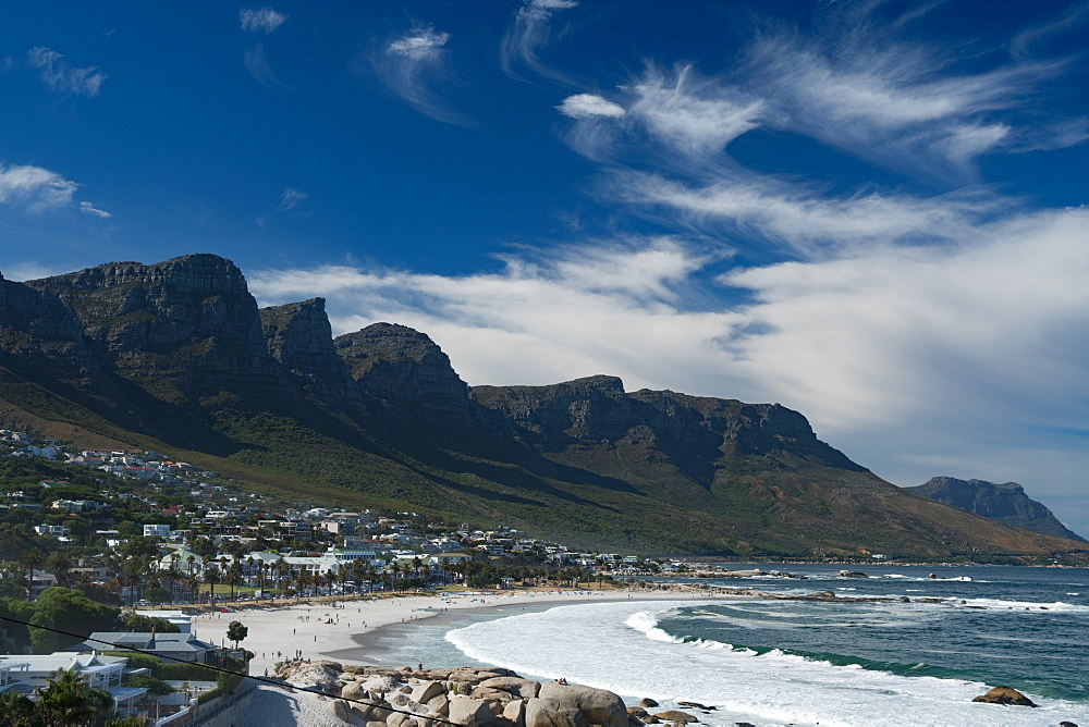 View across Camps Bay, Cape Town, South Africa, Africa