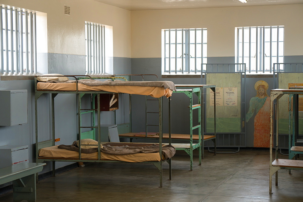 Dormitory with Christ mural, Robben Island, UNESCO World Heritage Site, Cape Town, South Africa, Africa
