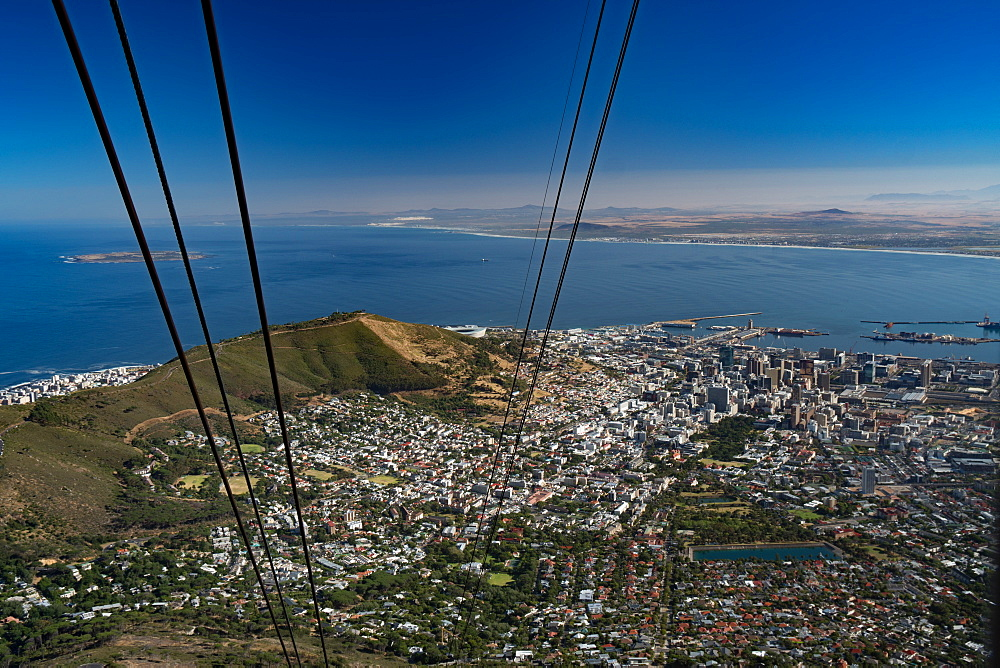 View from the top of Table Mountain across Table Bay, from the cable car, Cape Town, South Africa, Africa