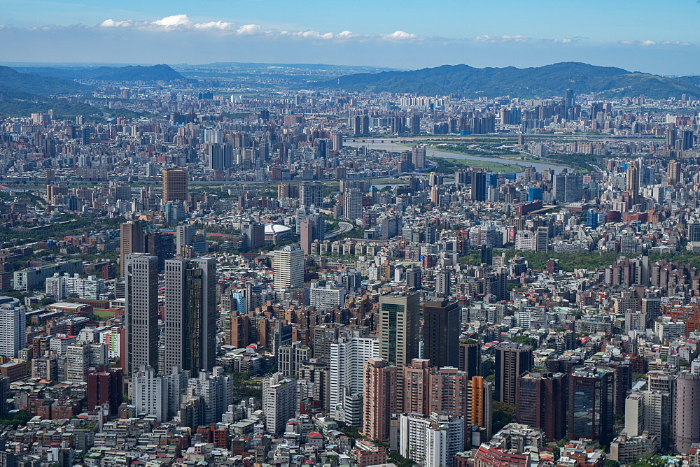 Taipei cityscape as seen from Taipei 101, the world's eighth tallest building at 1667 ft, Taipei, Taiwan, Asia - 450-4217