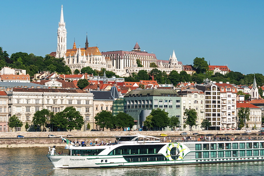 Castle Hill with Matthias Church and Fishermen's Bastion, UNESCO World Heritage Site, with cruiseboat, Budapest, Hungary, Europe - 450-4224