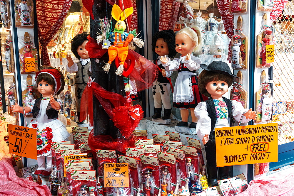 Tourist shop selling paprika, a major ingredient in Hungary's national dish, goulash, Central Market, Budapest, Hungary
