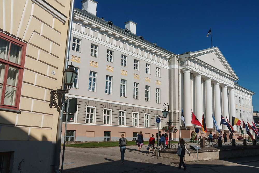 Neo-classical facade of University of Tartu building, Tartu, Estonia