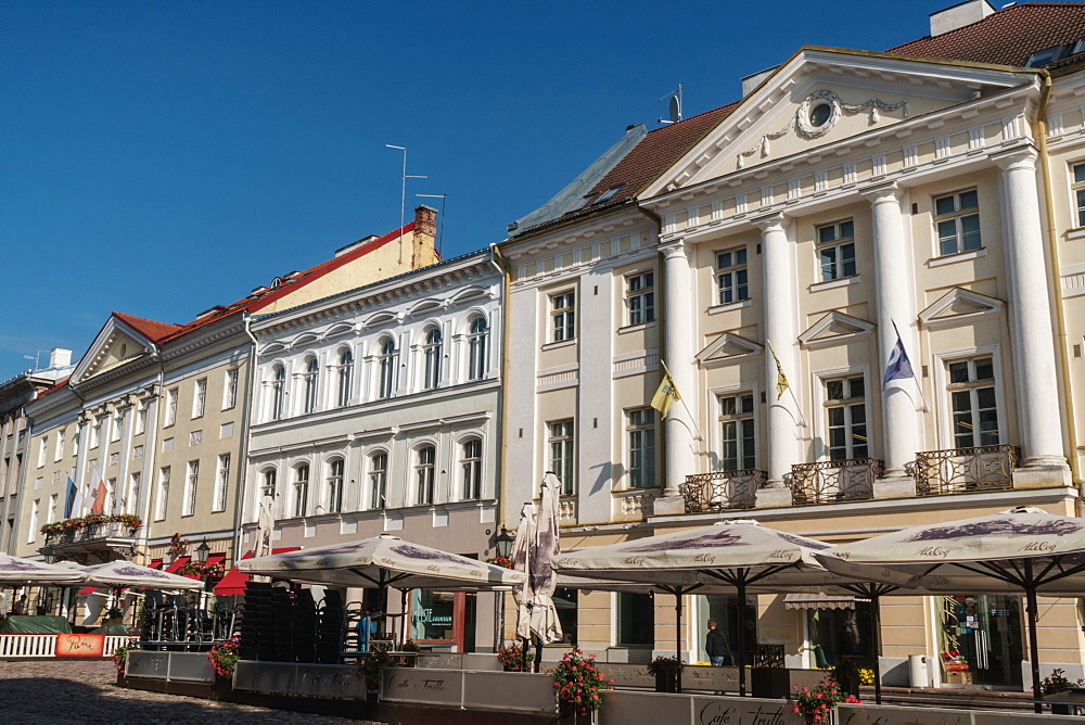Neo-classical building facades, Town Hall Square, Tartu, Estonia, Europe