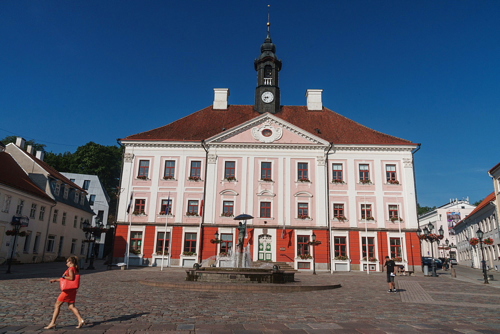 Pink Town Hall, Town Hall Square, Tartu, Estonia, Europe