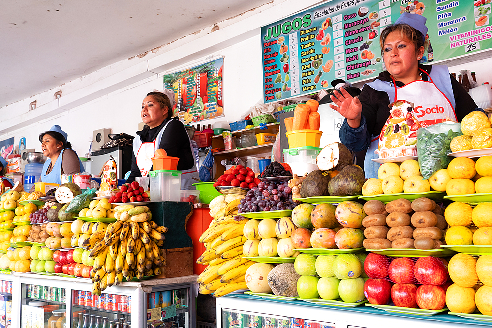 Line up of fruit and juice sellers, main market, Sucre, UNESCO World Heritage Site, Bolivia