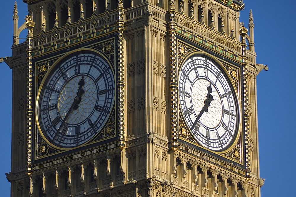 Close up of Big Ben's clock face, Houses of Parliament, Westminster, London, England, United Kingdom, Europe