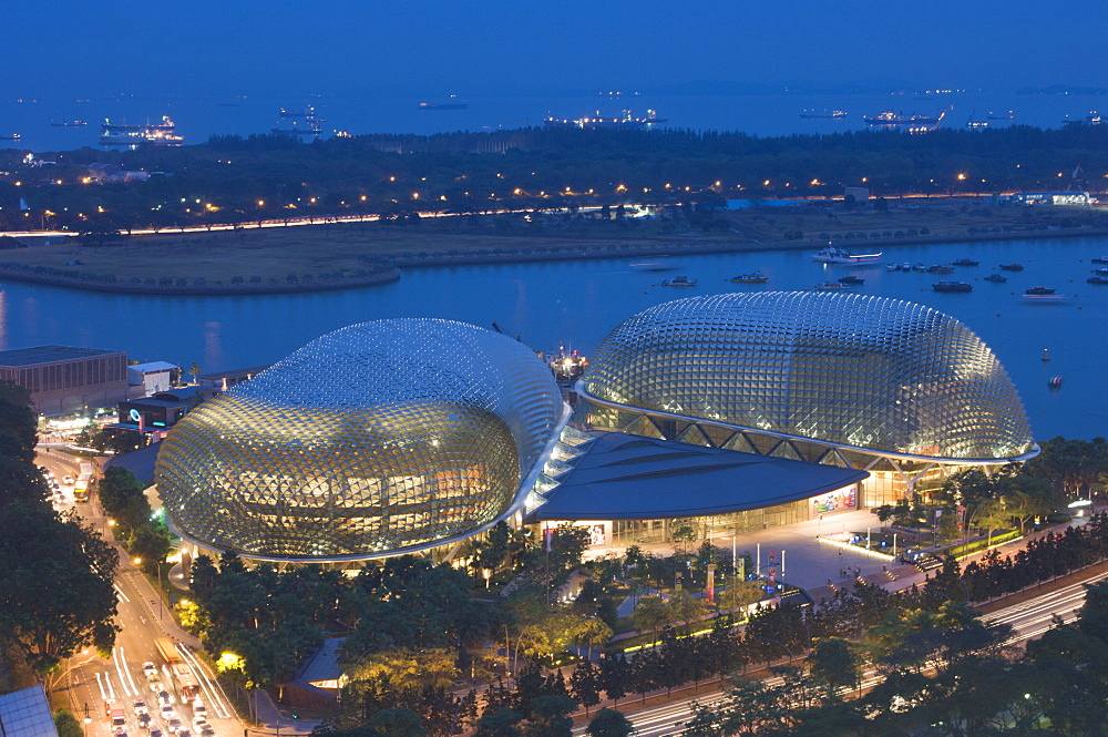 Esplanade Theatres on the Bay at dusk, Singapore, South East Asia