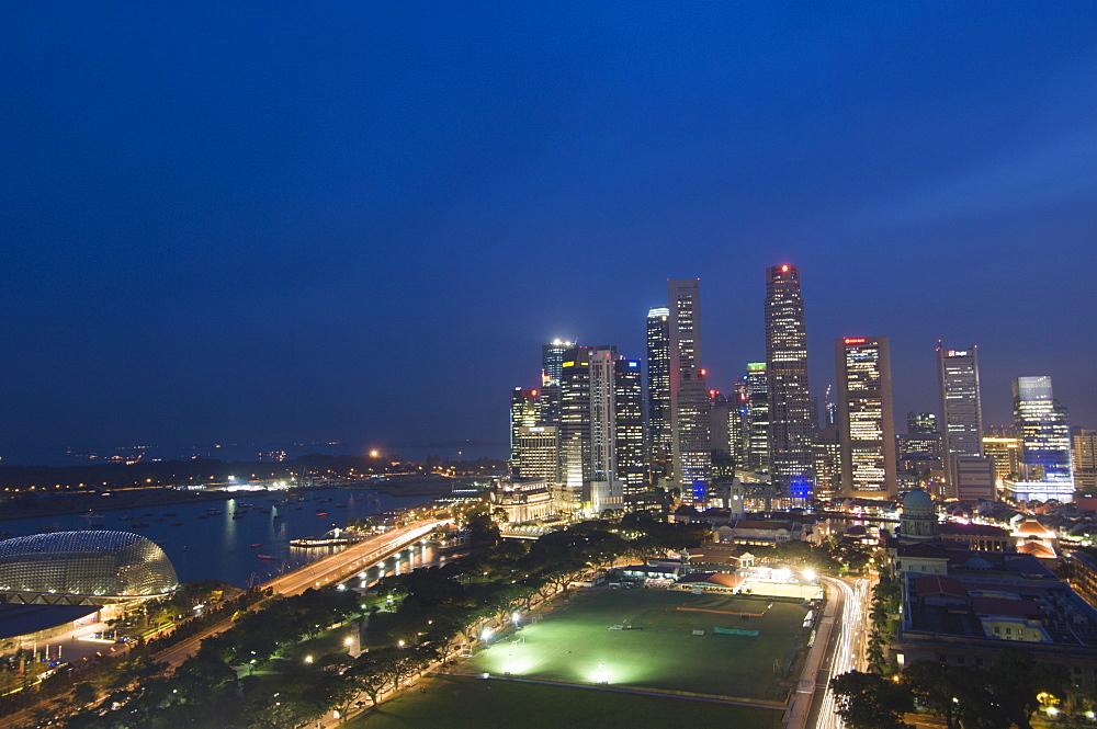 City skyline at dusk, Singapore, South East Asia