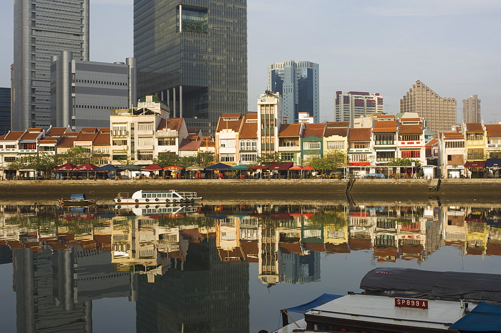 Boat Quay and the Singapore River with the Financial District behind, Singapore, South East Asia