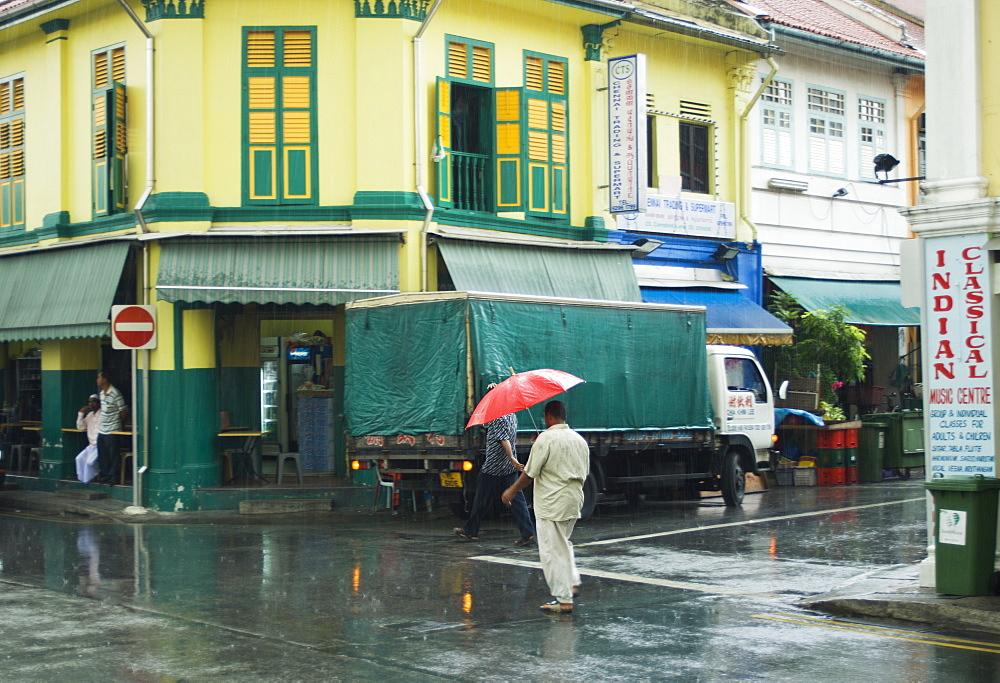 Rain storm, Little India, Singapore, South East Asia