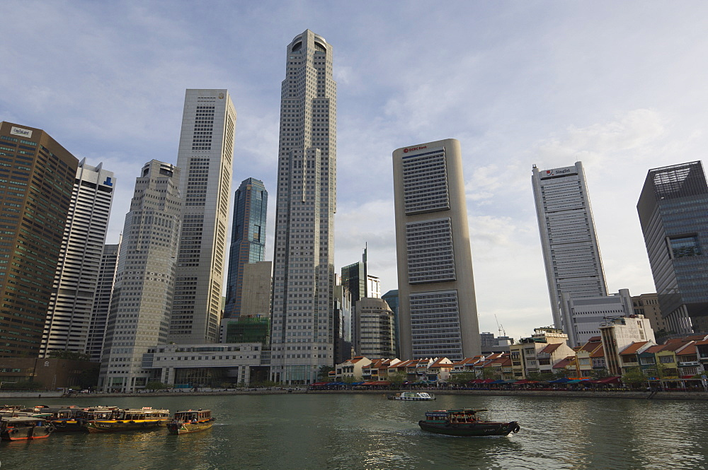 Ferries, Boat Quay, Financial District beyond, Singapore, South East Asia