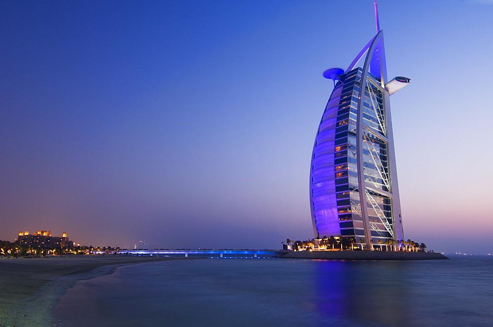 Sunset, Burj Al Arab Hotel, Dubai, United Arab Emirates, Middle East