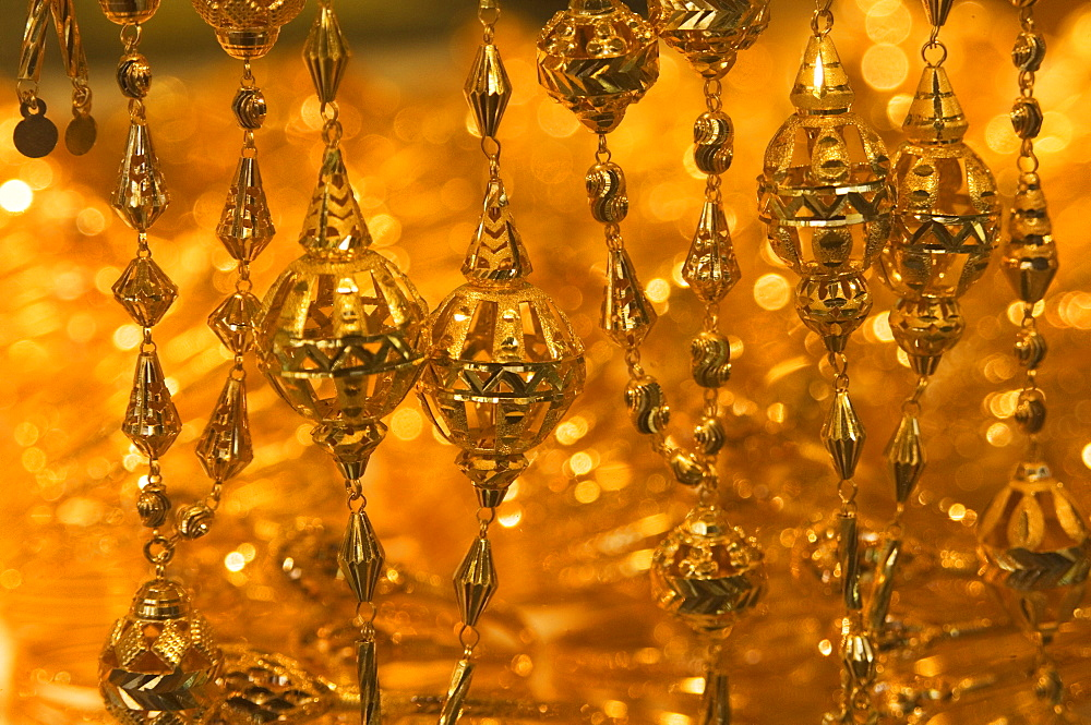 Close up of gold necklace on display, the Gold Souk, Deira, Dubai, United Arab Emirates, Middle East