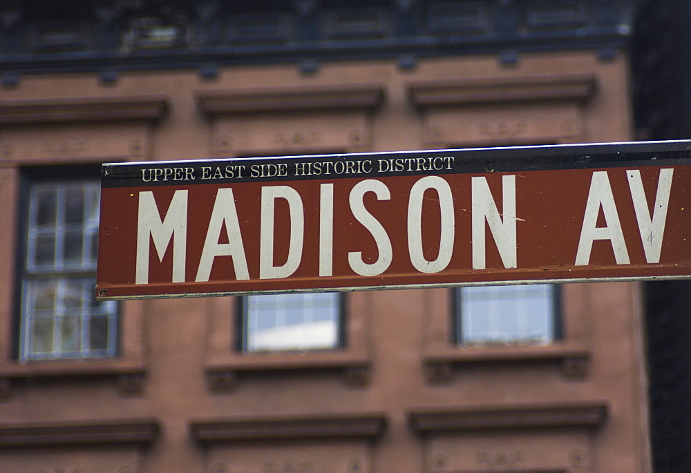 Madison Avenue street sign, Upper East Side, Manhattan, New York City, New York, United States of America, North America