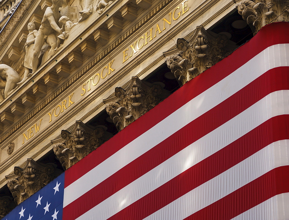 New York Stock Exchange and American flag, Wall Street, Financial District, New York City, New York, United States of America, North America - 462-1812