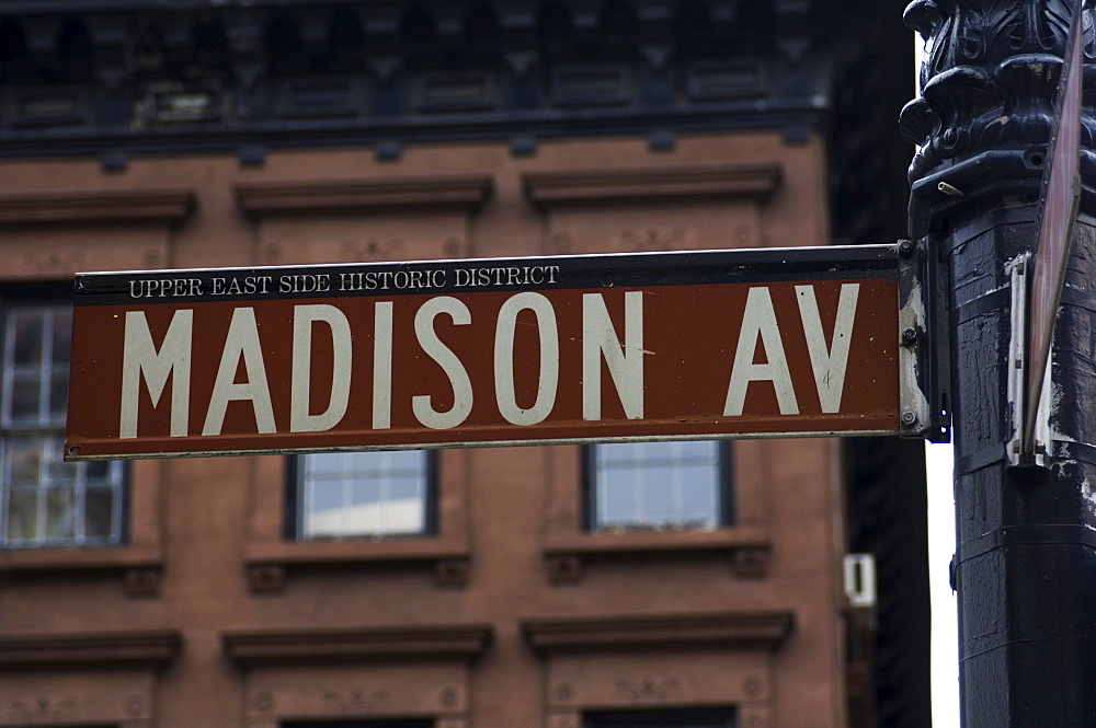 Madison Avenue street sign, Manhattan, New York City, New York, United States of America, North America