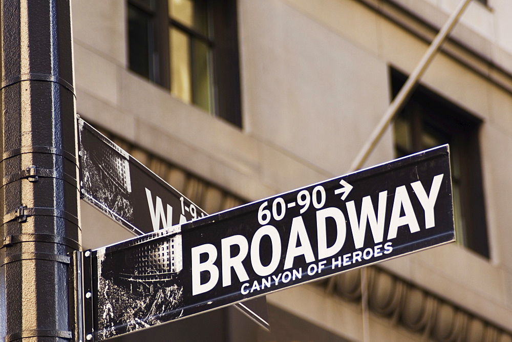 Broadway street sign Manhattan, New York City, New York, United States of America, North America - 462-1969