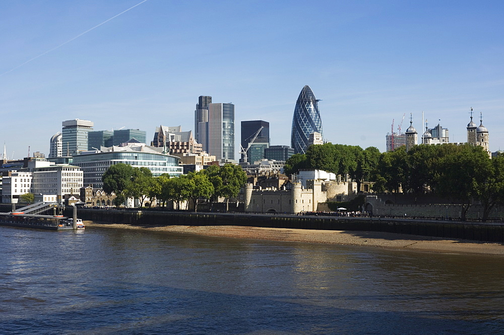City of London financial district seen from the River Thames, London, England, United Kingdom, Europe