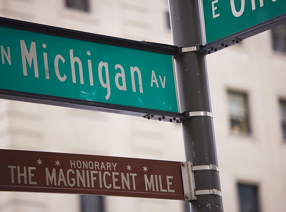 Signposts, the Magnificent Mile, North Michigan Avenue, Chicago, Illinois, USA