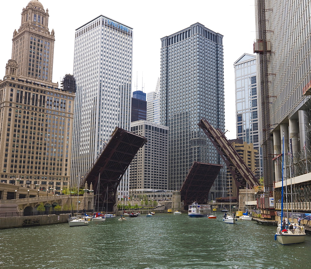 Bridges raised to allow sailboats through, Chicago River, Chicago, Illinois, United States of America, North America