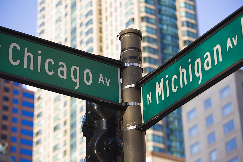 North Michigan Avenue and Chicago Avenue signpost, The Magnificent Mile, Chicago, Illinois, United States of America, North America