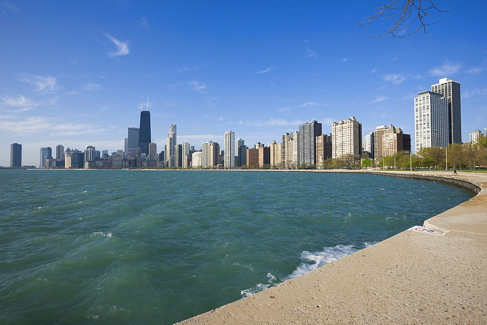 Near North skyline and Gold Coast, from Lake Michigan, Chicago, Illinois, United States of America, North America