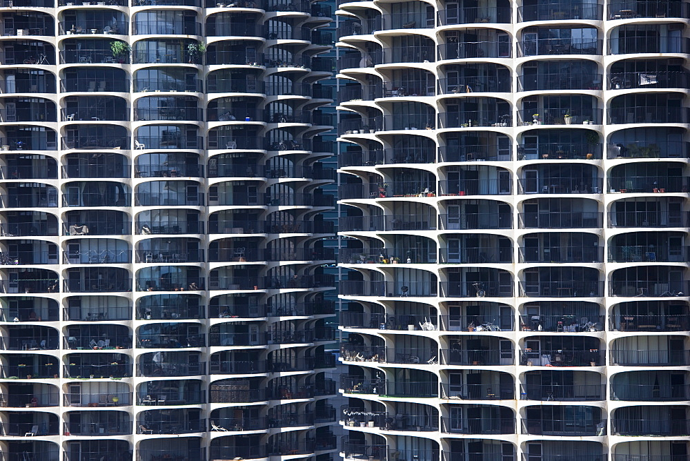 Close-up of Marina City's twin towers, Chicago, Illinois, United States of America, North America