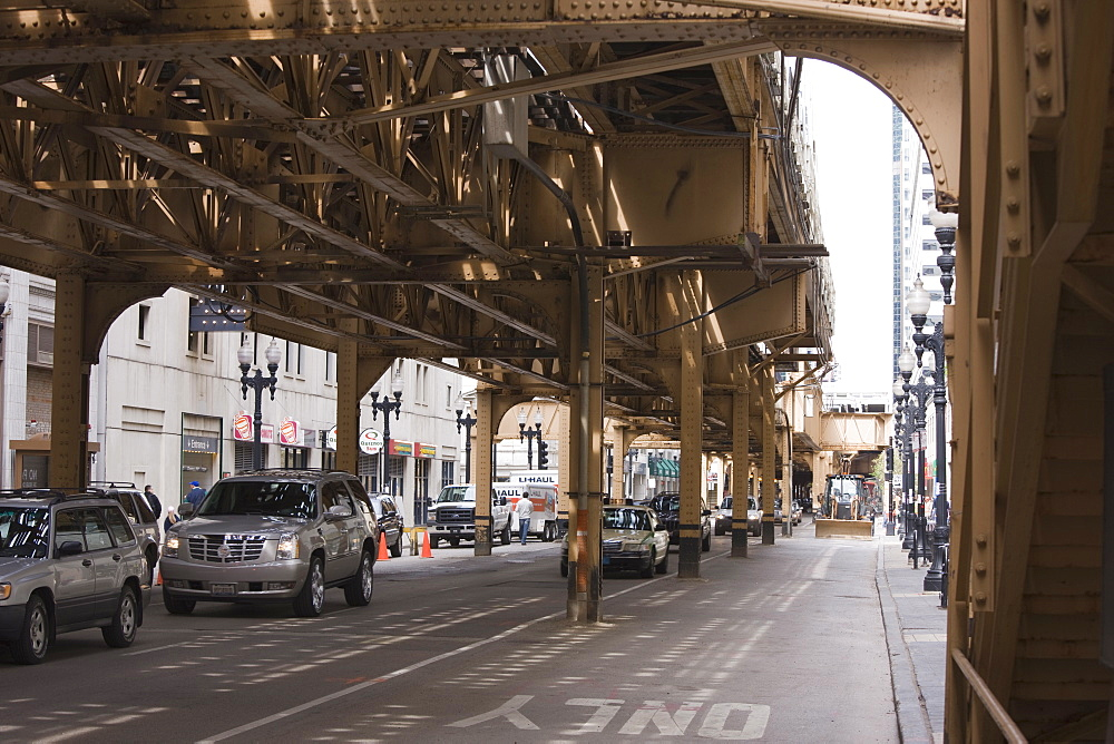 Under the El, the elevated train system in The Loop, Chicago, Illinois, United States of America, North America