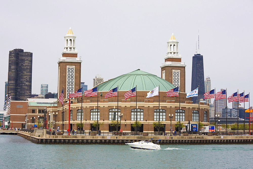 Navy Pier from Lake Michigan, Chicago, Illinois, United States of America, North America