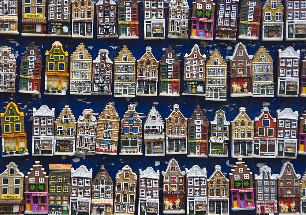 Souvenir house shaped refrigerator magnets, Amsterdam, Netherlands, Europe