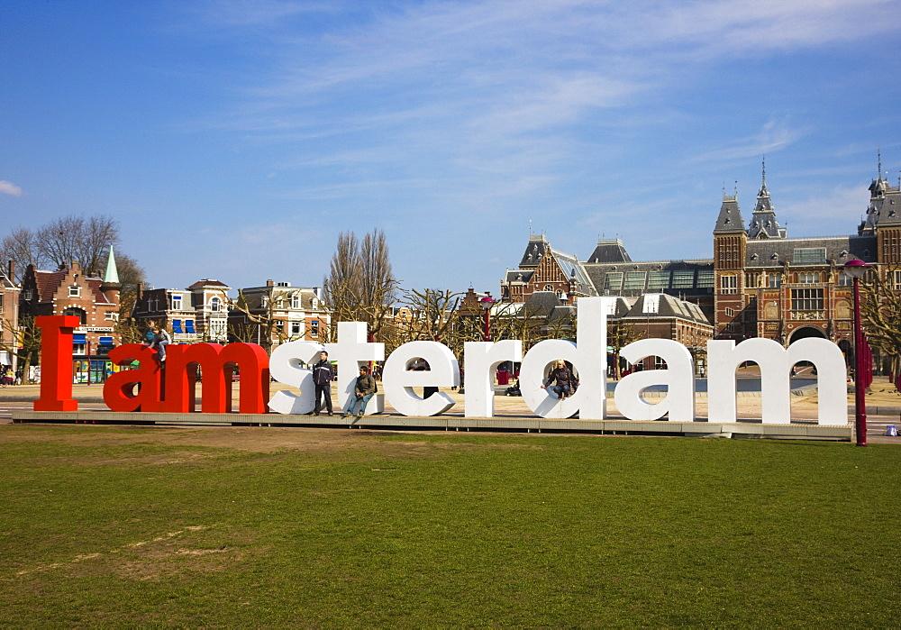 I amsterdam sculpture near the Rijksmuseum, Amsterdam, Netherlands, Europe