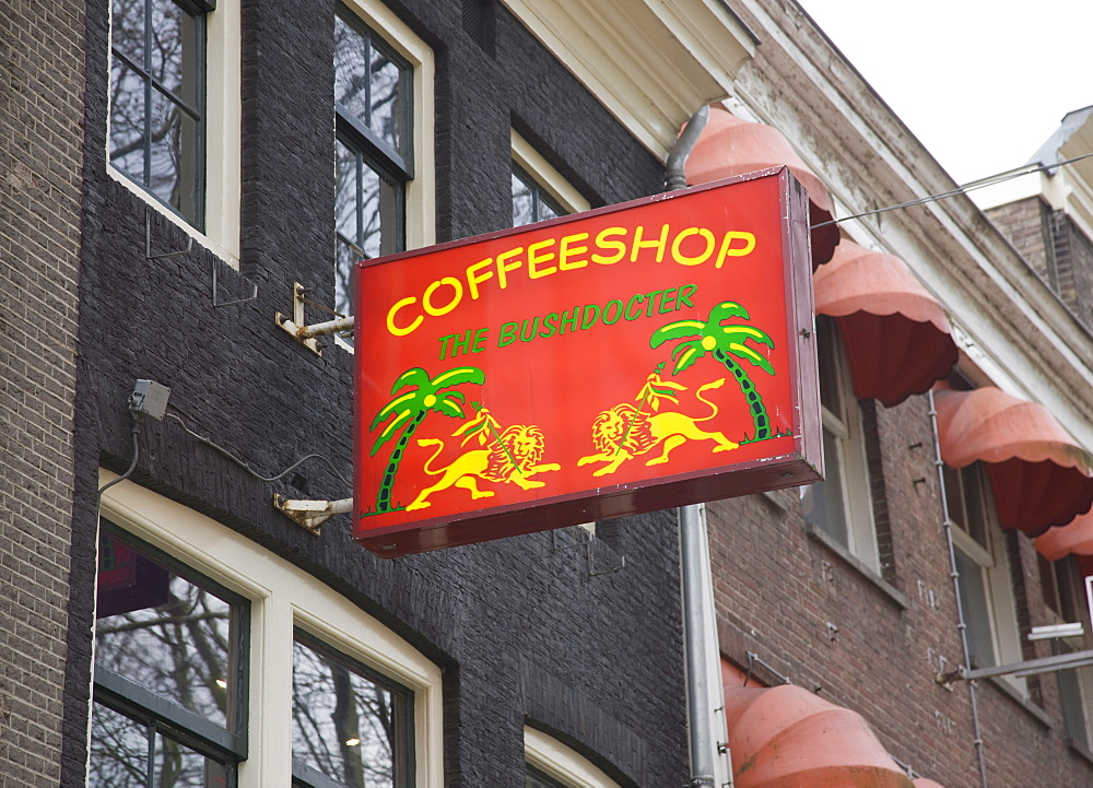 One of the many coffee shops where cannabis can legally be bought and consumed, Amsterdam, Netherlands, Europe