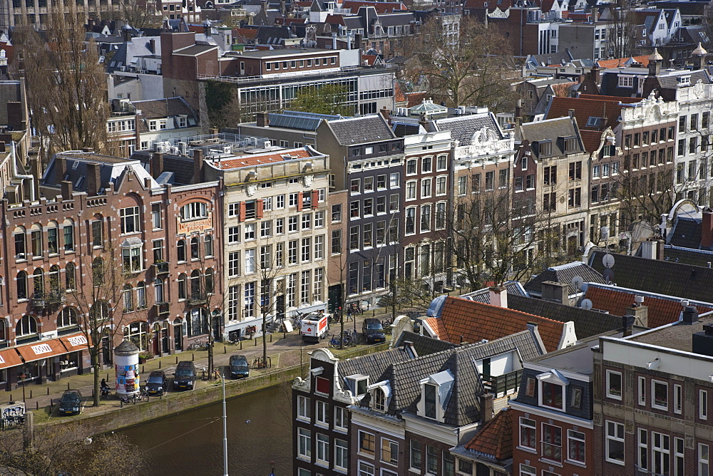 High angle view over the Prinsengracht Canal, Amsterdam, Netherlands, Europe